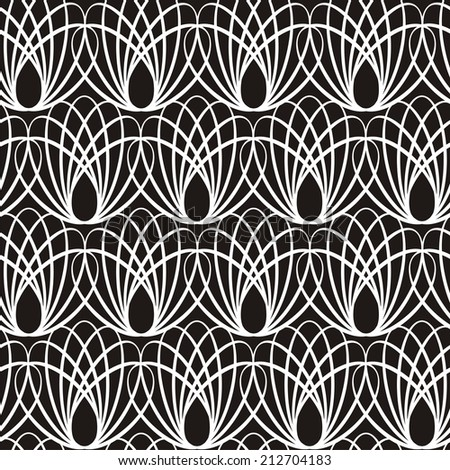 Illustration of seamless decorative black-and-white pattern. Raster version - stock photo
