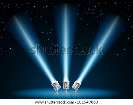 Illustration of search lights or spot lights pointing into dark sky with stars - stock photo