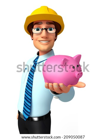 Illustration of service man with piggy bank - stock photo