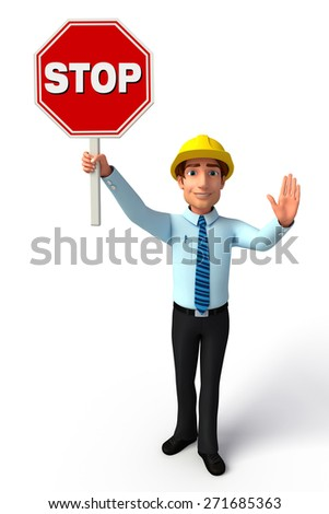 Illustration of service man with Stop sign - stock photo
