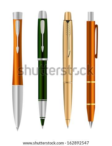 Illustration of set colorful pens - stock photo
