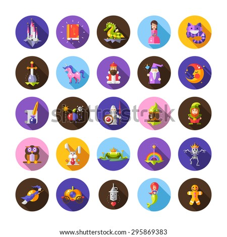 Illustration of set of fairy tales flat design magic icons and elements - stock photo