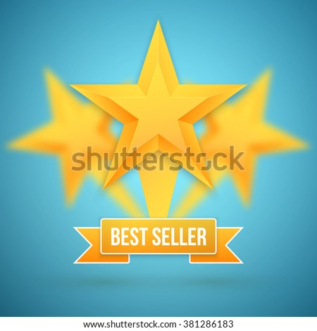 Illustration of Set of Gold Stars Icon. Best Seller Gold Star Icon Template - stock photo