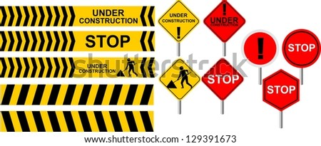 illustration of set of icon sign for under construction on white background - stock photo