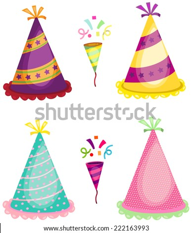 illustration of set of party horn blower and colorful hats - stock photo