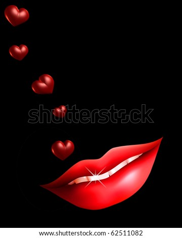 Illustration of sexy lips and hearts on black background - stock photo