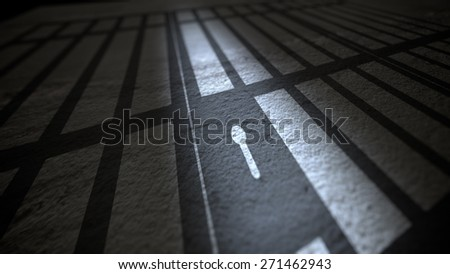 Illustration of Shadow of Jail Bars and Lock. - stock photo