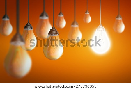 Illustration of shiny light bulbs on colorful background - stock photo