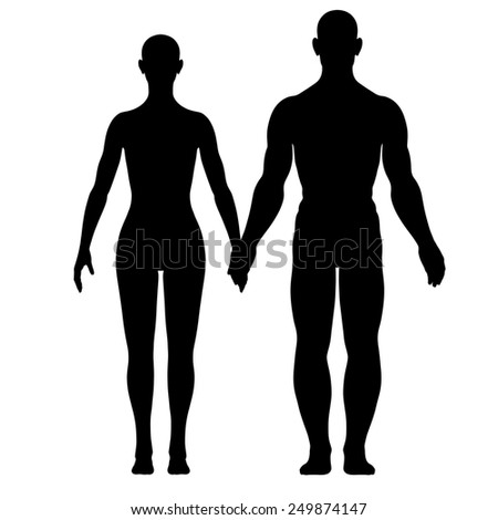 Illustration of silhouette of woman and man - stock photo