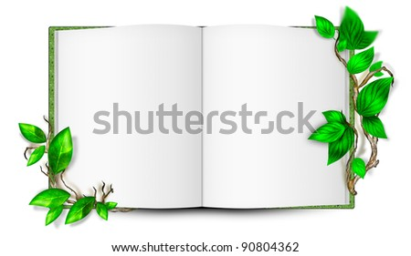 Illustration of simple blank book with leaves around it. Ecological concept - stock photo