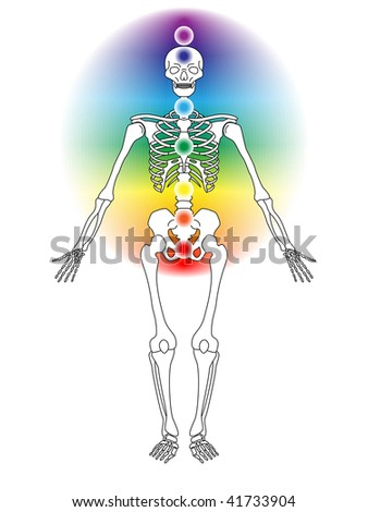 illustration of skeleton with seven chakras - stock photo
