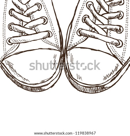 Illustration of sketchy sneakers - hand drawn picture - stock photo