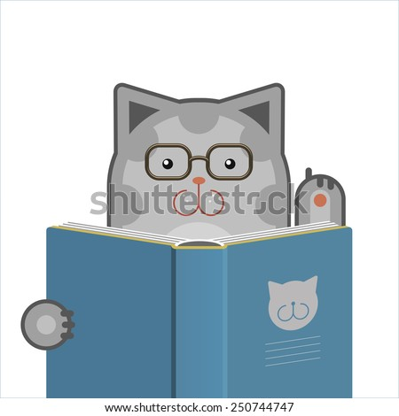 Illustration of smart cute cat with glasses reading the book. Raster version of vector file. - stock photo