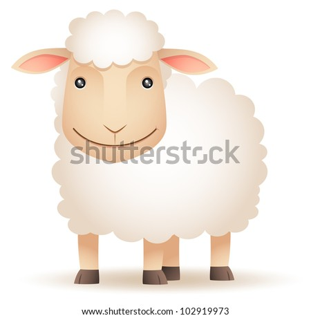Illustration of smiley Sheep - stock photo