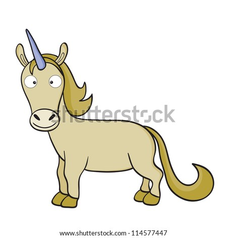 Illustration of smiling cute cartoon unicorn.Raster version. - stock photo