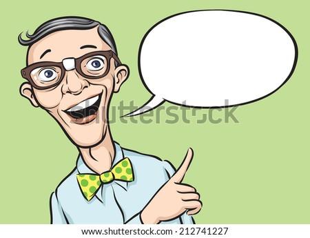 illustration of smiling geek with speech balloon - stock photo