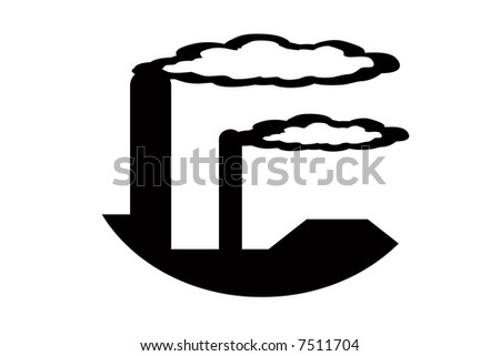 illustration of smoke stacks and pollution - stock photo