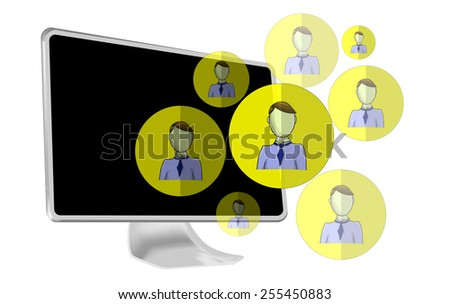 Illustration of social media heads with computer - stock photo