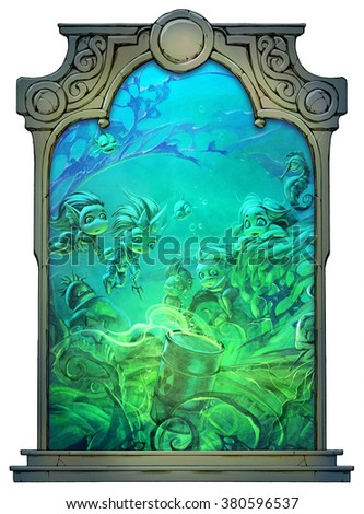 Illustration of some funny underwater sea creatures framed with a stone decorated hand drawn arch - stock photo