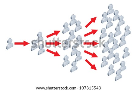 Illustration of something spreading to lots of people, like an idea going viral on the internet or in viral marketing. - stock photo