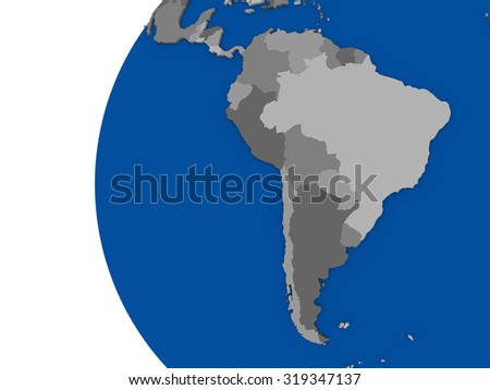 Illustration of south american continent on political globe with white background - stock photo