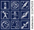Illustration of space and astronomy icons - hand drawn pictures - stock photo