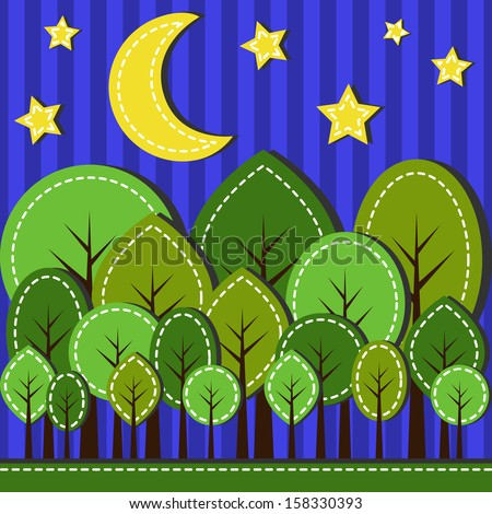 Illustration of spring forest at night, dashed style - stock photo