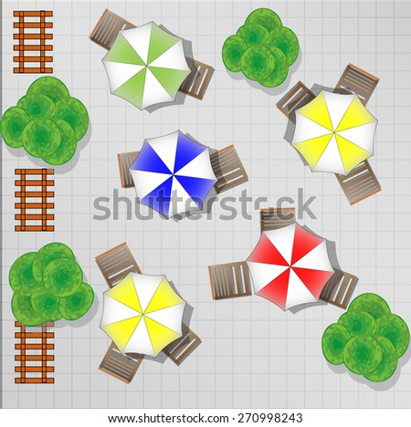 Illustration of square with chairs and parasols from above - stock photo