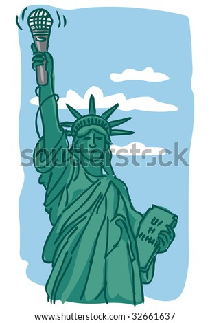 Illustration of Statue of Liberty holding microphone instead of torch against blue sky with clouds - stock photo