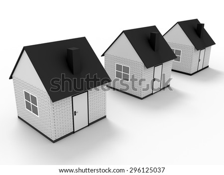 Illustration of street of 3d house isolated on white - stock photo