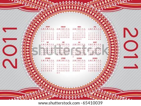 Illustration of style design Calendar for 2011 - stock photo