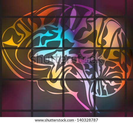 Illustration of stylized human brain - stock photo