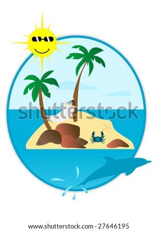 Illustration of summer landscape in round shape - stock photo