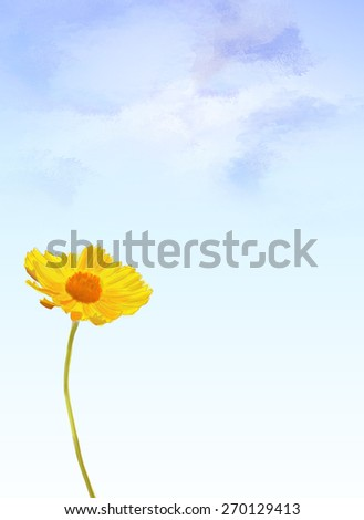 illustration of sunflower over blue sky painting background. Yellow, flora, botany, natural, happy art design idea template - stock photo
