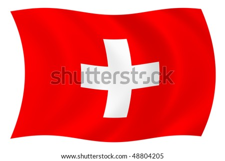 Illustration of Switzerland flag waving in the wind - stock photo