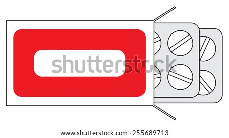 Illustration of tablets in packing on a white background - stock photo