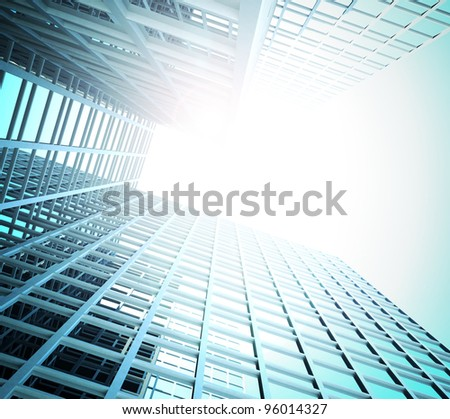 Illustration of the architecture of the business centre - stock photo