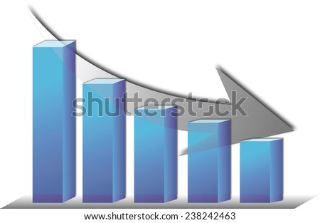 Illustration of the bar graph with down arrow.illustration of bar graph with descent arrow . - stock photo