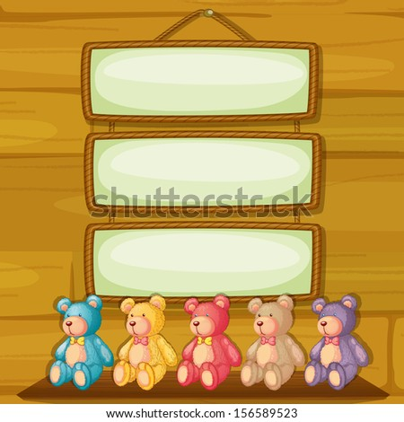 Illustration of the bears below the hanging signboards - stock photo