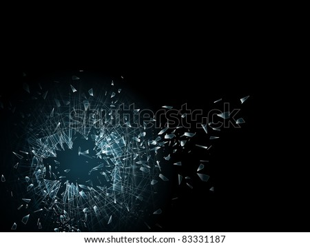illustration of the broken glass and hole in it, copyspace for your text - stock photo