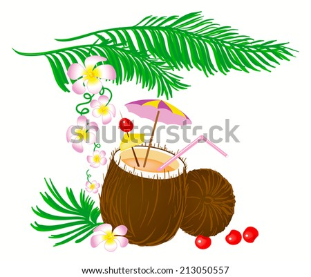 illustration of the coconut cocktail with the decoration and flowers around, computer generated image isolated on the white background - stock photo