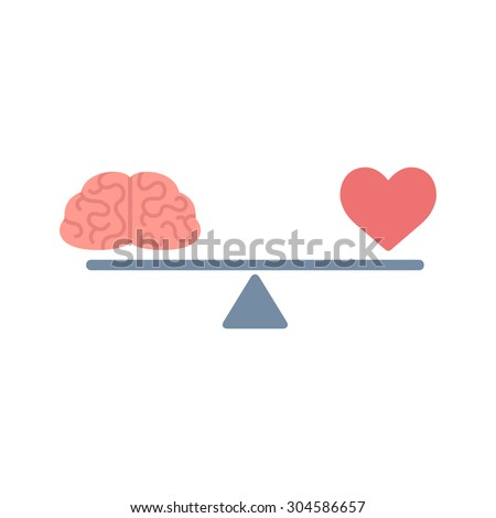 Illustration of the concept of balance between logic and emotion. Cartoon brain and heart on a scale. Simple and modern flat style, isolated on white background.  - stock photo