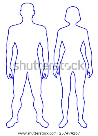 Illustration of the contour human body. Man and woman - stock photo