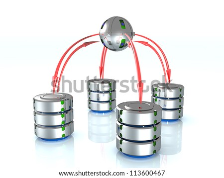 Illustration of the database on the mirror surface. ?4 - stock photo