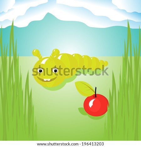 Illustration of the delight smiling caterpillar happily watching the red apple. Raster version. - stock photo