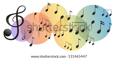 Illustration of the different kinds of musical notes on a white background - stock photo