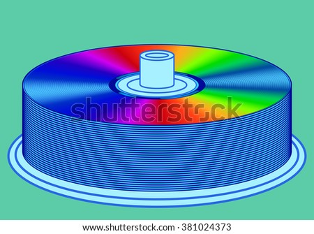 Illustration of the dvd disks stack icon - stock photo