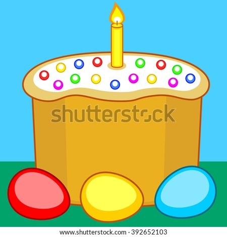 Illustration of the Easter cake, candle and eggs - stock photo