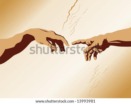 illustration of the famous fragment of Sistine Chapel fresco by Michelangelo. - stock photo