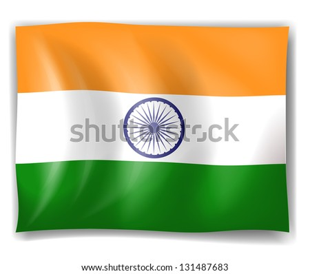 Illustration of the flag of India on a white background - stock photo